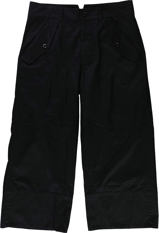 Ralph Lauren Womens Twill Casual Wide Leg Pants, Black, 4