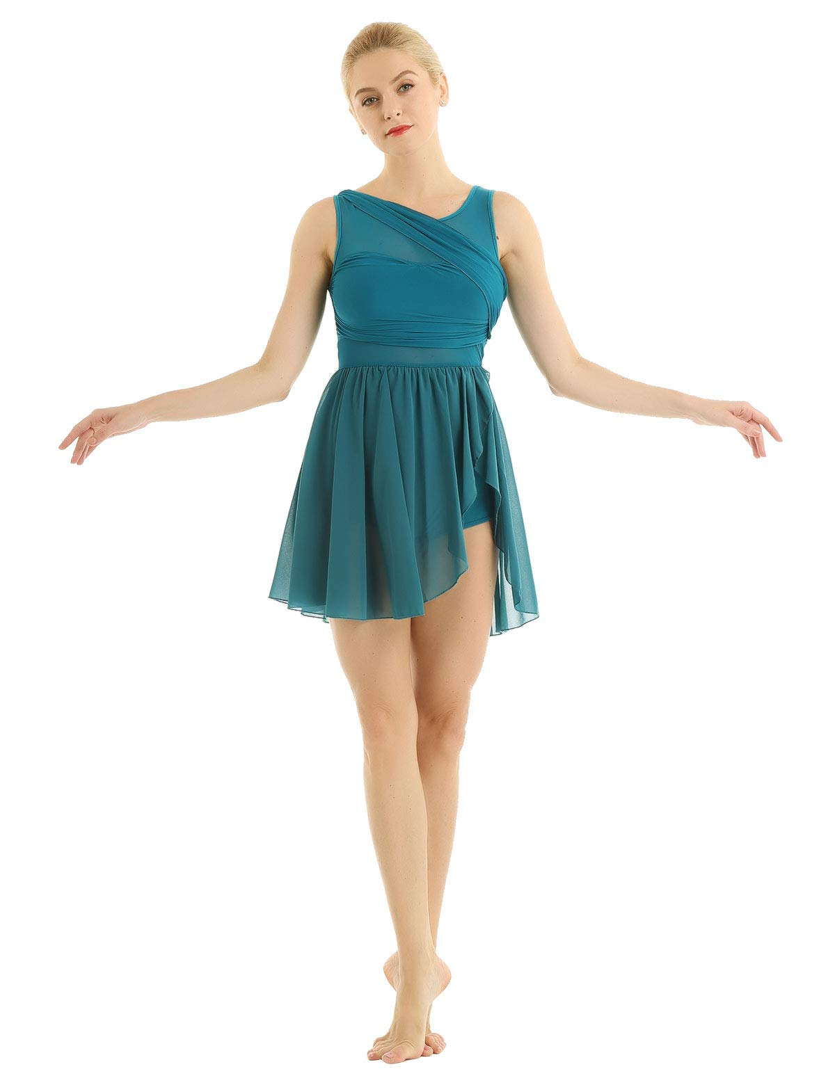 Available at Amazon: inhzoy Women's Lyrical Ballet Dance Dress Modern Contemporary Illusion Chiffon High-Low Skirted Leotard
