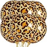 Big 22 Inch Cheetah Balloons for Birthday - Cheetah Print Balloons | 360 Degree 4D Round Sphere Foil Leopard Balloons | Metallic Leopard Print Balloons, Jungle Party Decorations, Animal Print Balloons