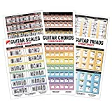 IVIDEOSONGS Guitar Cheatsheets Bundle (6' x 9') • Chords, Scales & Triads Reference Charts • Full Color • Free Access to 150+ Guitar Tutorials