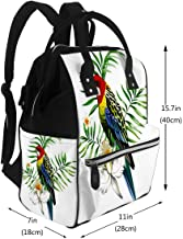 Diaper Bags Mummy Backpack Multi Functions Large Capacity Multicolor Single Parrot with Tropical Plants and Flowers Nappy Bag Nursing Bag for Baby Care for Traveling