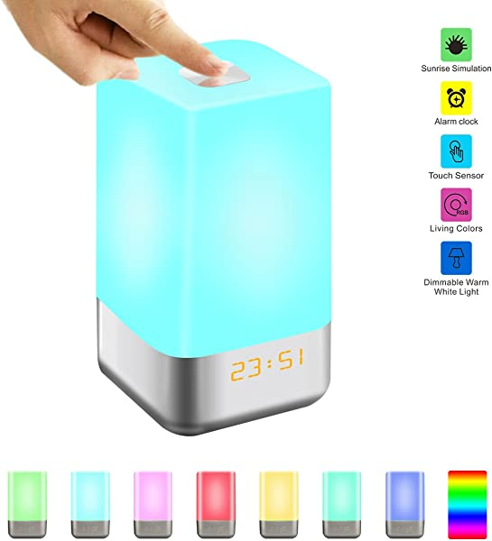 Wake Up Light Alarm Clock GLIME Sunrise Simulation LED Bedside Lamp Clocks For Bedroom Touch Sensor Night Light With 7 Changing Colors 5 Natural Sounds 3 Brightness USB Rechargeable Reading Lamps