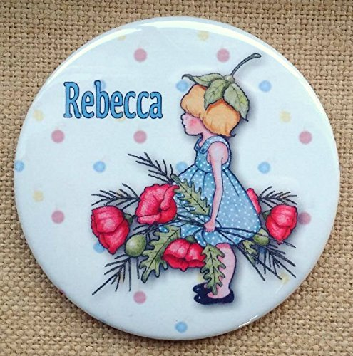 """Personalized Pocket Mirror, 3.5"""", Customized With Your Name, Small Girl With Poppies, Whimsical Artwork"""