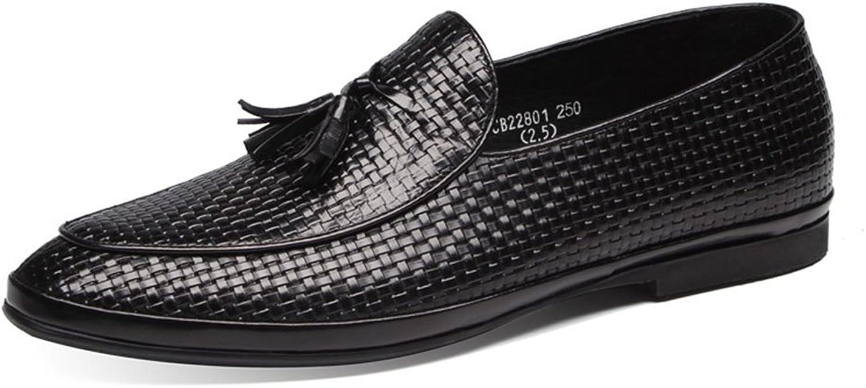 MedzRE Men's Leather Woven Detail Slip-on Tassel shoes