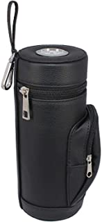 AMANCY Premium Handy Black Leather Travel Cigar Humidor Case with Pocket, Conveniently Carry Lighter and Cutter