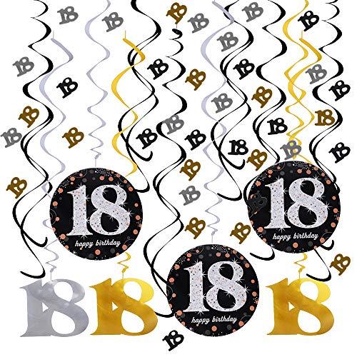 JNCH Decoracion 18 Cumpleaños Adorno Espiral Decoración Colgante + Confeti Mesa 18 Cumpleaños para 18 Años Decoraciones Fiesta de Cumpleaños