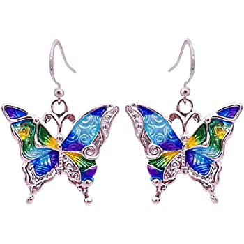 So Chic Jewels Childs 18k Yellow Gold Butterfly Drop Earrings