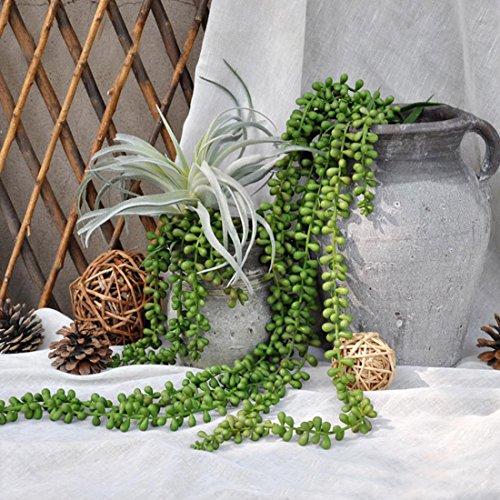 JUSTOYOU 38.18IN 2PCS Künstliche Pflanzen Grün Real Touch Aloe Vera Sukkulente Plug Pflanzen Hängende Pflanzen Gefälschte Perlenkette für die Wand Hausgarten Dekoration
