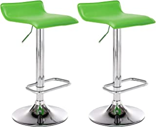 CLP Set De 2 Taburetes De Bar Dyn En Simil Cuero & Base De Metal Con Reposapiés I 2 Sillas Altas Regulable En Altura & Giratorias, Color:verde claro