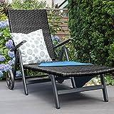 Vanage Sonnenliege mit Polyrattan Optik in schwarz – Gartenliege mit 2 Rädern – Liegestuhl ist klappbar – Gartenmöbel – Strandliege aus Aluminium – Relaxliege für den Garten, Terrasse und Balkon - 7