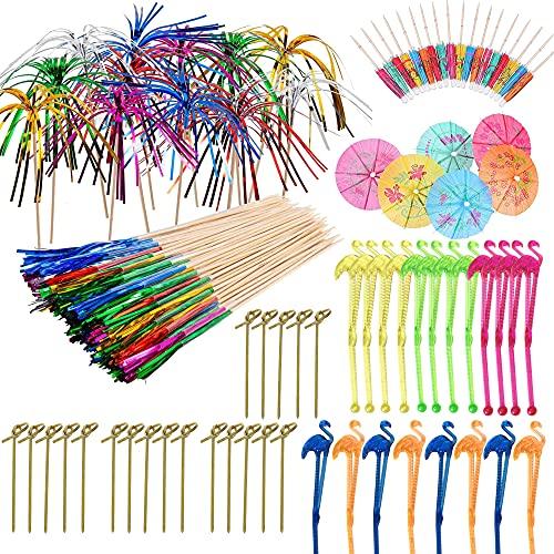 Allazone 210 Pz Decoración de Cóctel, Decoraciones de Fiesta de Cócteles, Palillos de Cócteles de Fuegos, Paraguas de Cóctel, Agitadores de Cóctel Flamenco para Decoración de Cócteles, Fiestas