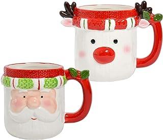 Kerstmok Kerstbeker met gezicht - 350 ml van keramiek met handvat, liefdevol design - voor warme en koude dranken - Kerstm...
