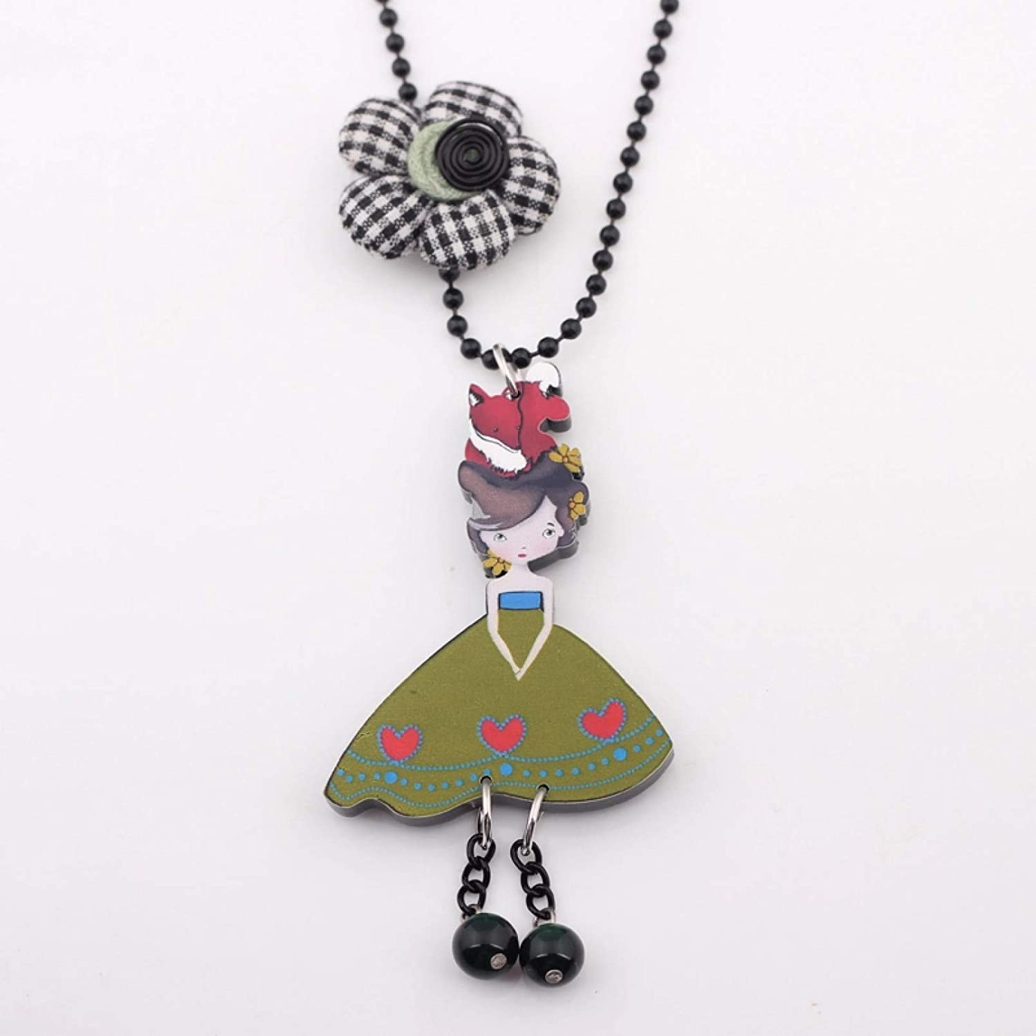 N/A Necklace Pendant Gentle Girl & Pendant Necklace Collar Colorful for Girls Lovely Cute Figure Acrylic Women Jewelry Fairy Wings Christmas Birthday Gift