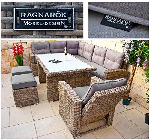RAGNARÖK hohe Dinning Lounge - DEUTSCHE Marke - 8 Jahre GARANTIE EIGENE Produktion - PolyRattan Gartenmöbel Essgruppe Hocker Sessel verstellbare Lehn Naturfarben Rundrattan - 7