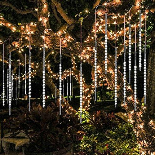 BlueFire Mejorada Meteoros Lluvia Luces, Impermeabilizan 50cm 10 Tubos 540 LED de Luces Led Con Enchufe de la EU para Festival de Decoración del árbol de Jardin de Navidad (Blanco)
