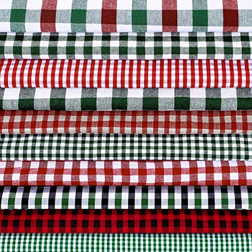 10 Pieces 18 x 22 Inch Christmas Cotton Fabric Craft Bundle Squares Buffalo Christmas Pack Precut Cotton Homespun Quilting Fabric Plaid Check Fabric Squares Christmas Holiday Collection for DIY Craft