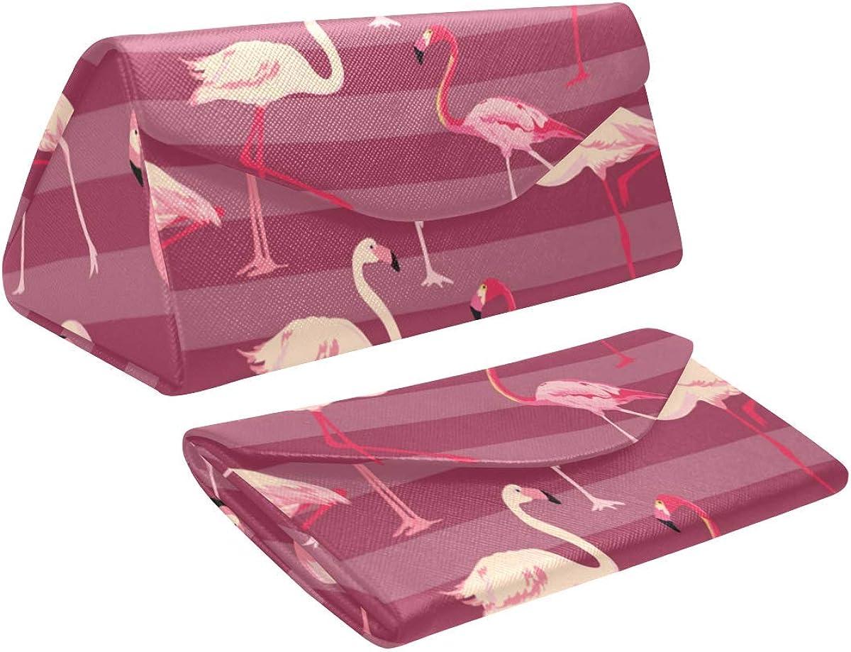 Glasses Case Flamingo Bird Eyeglass Case Leather Magnetic Folding Hard Case Sunglasses Eyewear Protective Case
