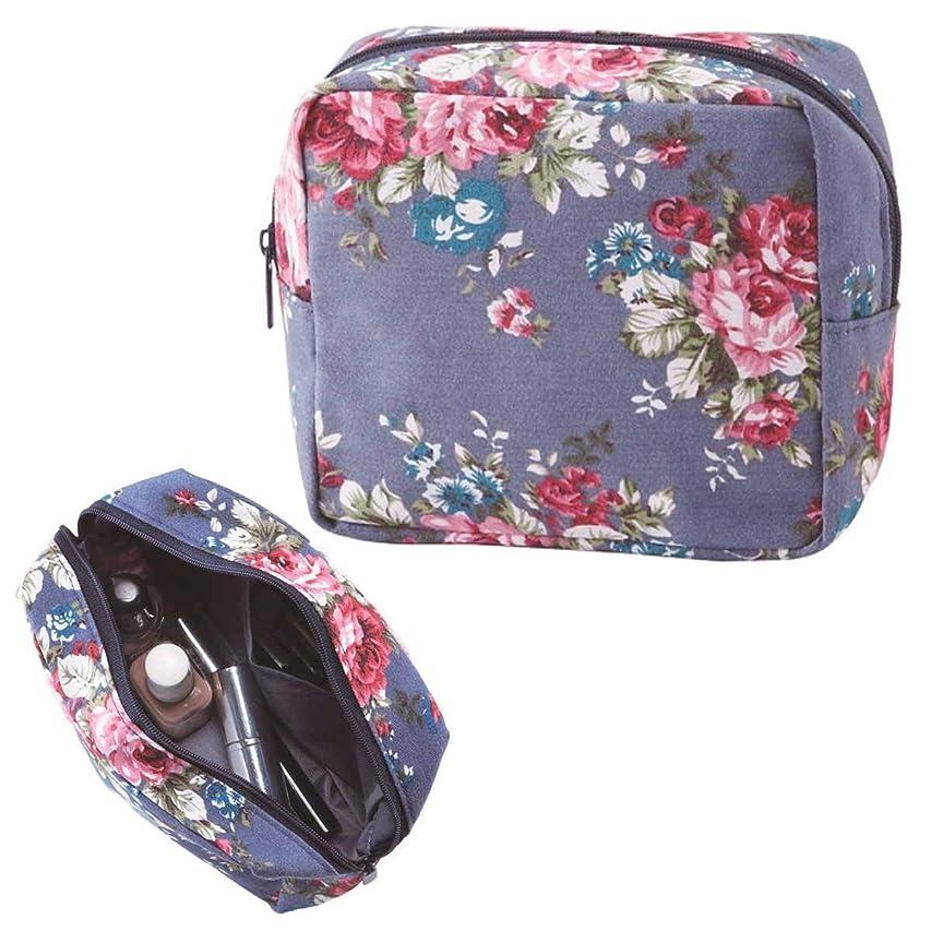 輪郭ツイン含むレトロ感のあるローズ柄 花柄 化粧ポーチ コスメポーチ ボックス型ポーチ 小物入れ