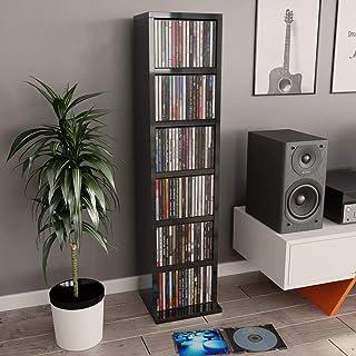 Festnight Estante para CDs Soporte para DVDs de Aglomerado Negro Brillante 21X16X88 Cm Estantería de Libros Estantería Lib...