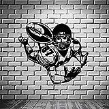 wukongsun Football Large Récepteur Autocollant Mural Quarterback Super Bow Peinture Murale Vinyle Art Applique Art Design Mur Tatouage Noir 42X67cm
