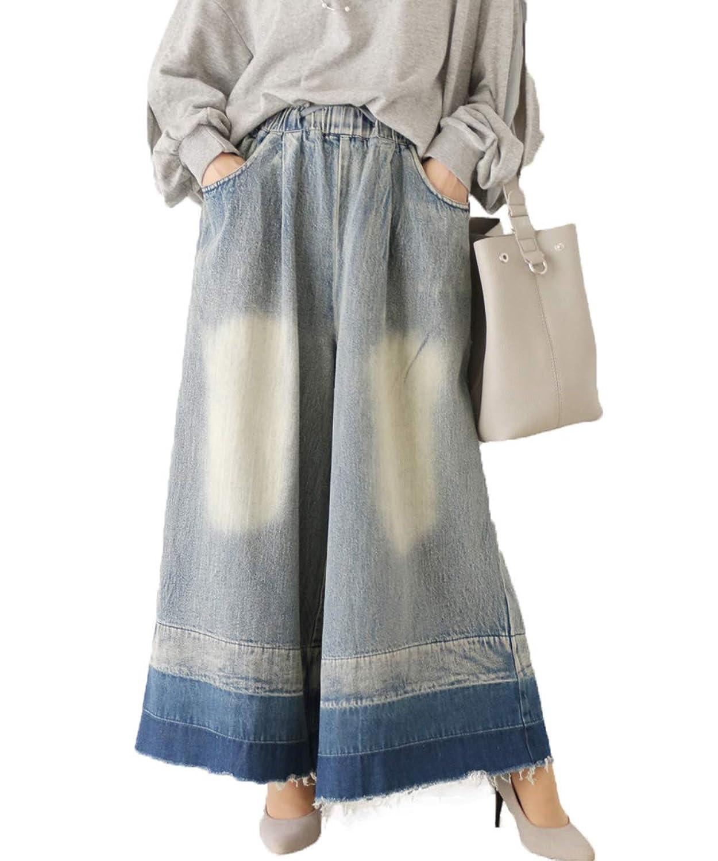 [フレンチパヴェ] 裾 切り替え ロング デニム コットン ウエストゴム ワイドパンツ レディース