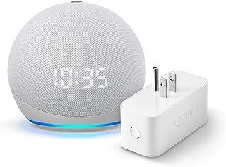 Echo Dot (4th gen.) with Clock, Glacier White and Amazon Smart Plug
