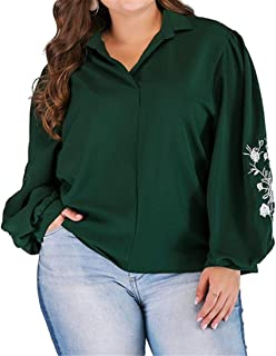 FRPE Womens Print V Neck Plus Size Long Sleeve Floral Embroidery Top T-Shirt Blouse