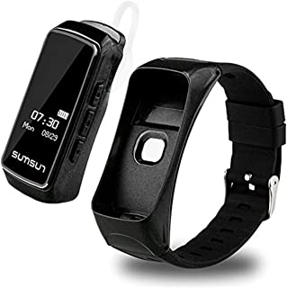 PADY-Wearable Technology B7 2 in 1 Bluetooth Smart Band Headset Talkband Heart Rate Monitor Pedometer Smart Bracelet Sports Wristband with Music Player Answer Call