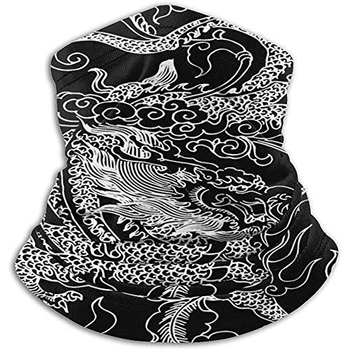 Leyu Foulard, fascia per capelli, scaldacollo, antivento, motivo drago cinese, nero, per adulti e bambini, 30 x 25 cm, berretto snood, maschera viso a tubo, fascia anti-UV