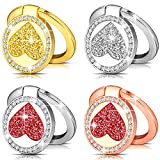 Frienda 4 Pieces Cell Phone Ring Stand Glitter Love Cell Phone Ring Finger Holder Glitter Ring Stand for Universal Tablets and Smartphone Gold, Silver, Silver Red, Rose Gold, 1.3 x 1.3 Inch