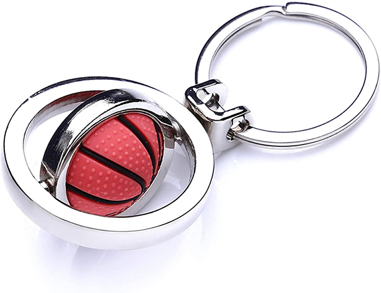 Cngstar Metal Spinning Basketball Keyring Inspirational Keychain Rings Gifts for Basketball Lover