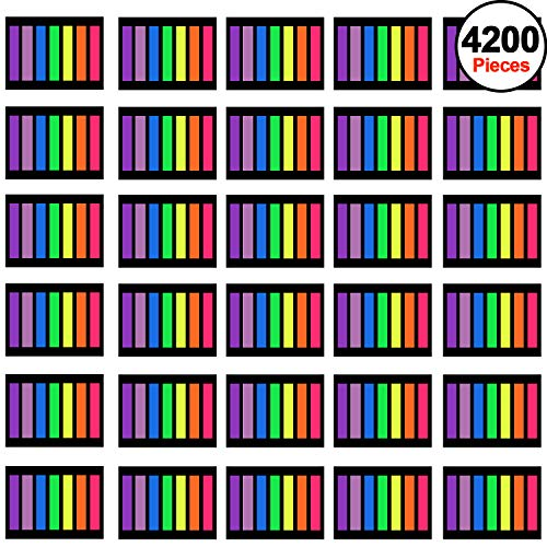 SIQUK 4200 Pieces Page Marker Tabs Colored Sticky Page Tabs Neon Page Flags Fluorescent Tape Flags Index Tabs, 30 Sets 7 Colors