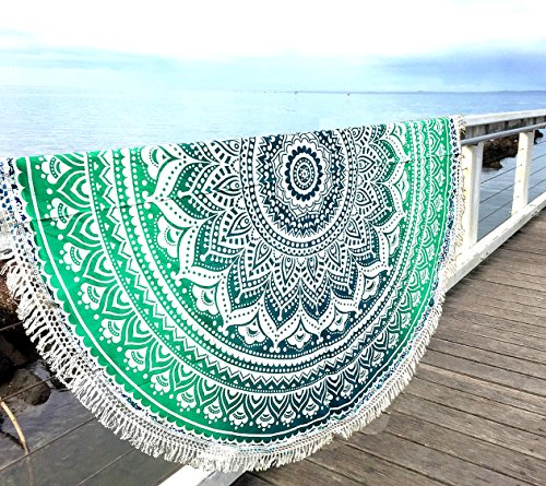 Aakriti Toalla de playa redonda con degradado estilo mandala indio, tapiz hippy, boho, mantel de algodón, mantel para picnic, esterilla de yoga, chal redondo, 182 cm, algodón, Verde, 180 cm