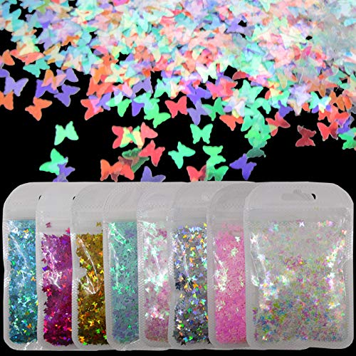 8 Colors Iirdescent Butterfly Chunky Glitter Flakes Mylar AB Pink Blue Holographic Butterflies Glitters Crafts Sequins Confetti for Resin Epoxy Slime Makeup Body Acrylic Nail Art (Butterfly)