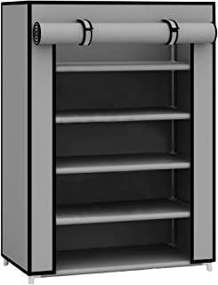 Sunbeam Multipurpose Portable Wardrobe Storage Closet For Shoes and Clothing 5 Tier/Fits 15 Pairs of Shoes Heavy Duty Non Woven Material Gray With Roll Down Cover (Grey)