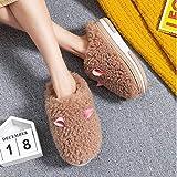 XZDNYDHGX Pantofole per Bambine,Pantofole da Donna Orecchie pelose Peluche Morbido Comfort, Pantofola Femminile Scarpe da casa per Interni Flock Ladies Khaki EU 35-36