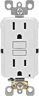Leviton GFNT1-3W Self-Test SmartlockPro Slim GFCI Non-Tamper-Resistant Receptacle with LED Indicator, 15-Amp, 3-Pack, White