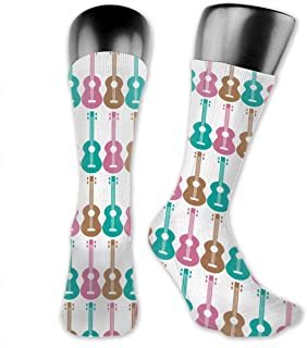 yting, Calcetines acolchados casuales con patrón de ukelele para niños, adolescentes, hombres, mujeres, gimnasio, fútbol