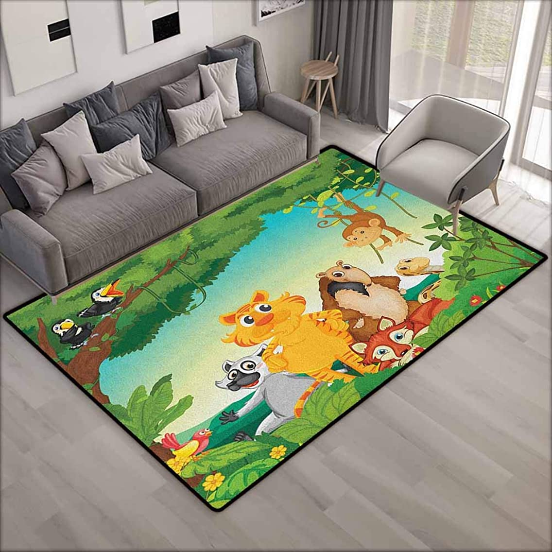 Kids Rug,Zoo Forest Scene with Different Animals Habitat Jungle Tropical Environment Kids Cartoon,Ideal Gift for Children,5'6