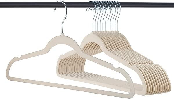 Home It 319 Premium Velvet Heavy Duty 50 Pack Non Slip Suit Clothes Hanger Hook Swivel 360 Ultra Thin Ivory