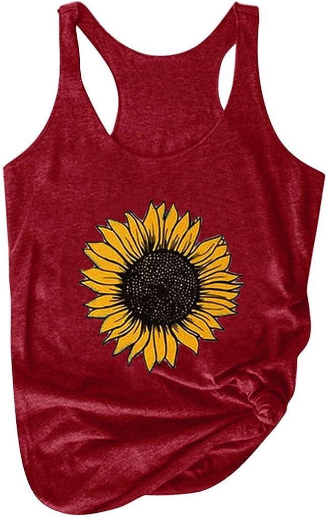 Women Shirts Summer Crew Neck Cami Tank Tops Sunflower Print Graphic Sleeveless Tees Loose Blouse Tanks