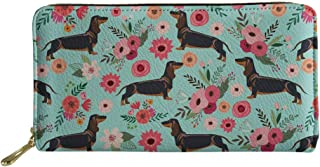 Women Soft Leather Purses Travel Wallet Floral White&Black Dogs Printed Shopping Pouch