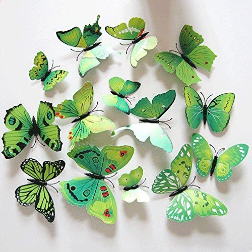 Oblique Unique 3D Schmetterlinge Blumen 12er Set Dekoration Wandtattoo (Alive (grün))
