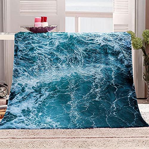 Manta De Cama 3D Agua de mar Manta Reversible Suave y Esponjosa De Lana Estampado Manta de Dormitorio para Cama Infantil Individual Matrimonio 150x200cm
