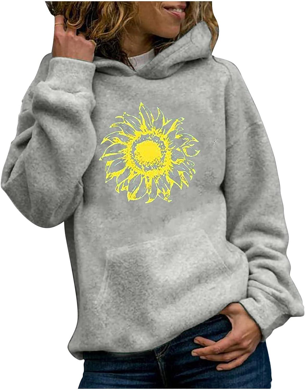 CTEEGC Womens Halloween Sunflower Print Hooded Long Sleeve Pullover Crew Neck Sweatshirt Autumn Festival Jumper