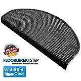 Floordirekt 15 x Teppich Stufenmatten Treppenstufen   100% Sisal   wohnlichen Farben   rutschsicher für Mensch und Tier (Maße ca. 64 x 23,5 cm) (Schwarz) - 3