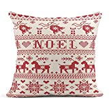 Kinhevao Cojín Noel Escandinavo Inspirado por el patrón navideño Festivo Noruego de Navidad en Punto de Cruz Reno Árbol Corazón Cojín de Lino Almohada Decorativa para el hogar