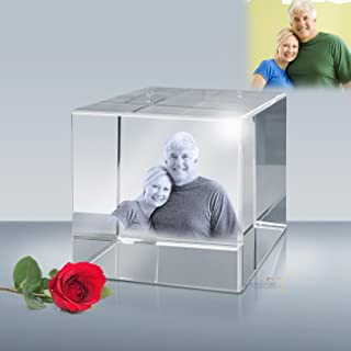 Personalized Photo Etched Crystal Flat Cube, Engraved Picture Glass Cube by Goodcount (L - 3