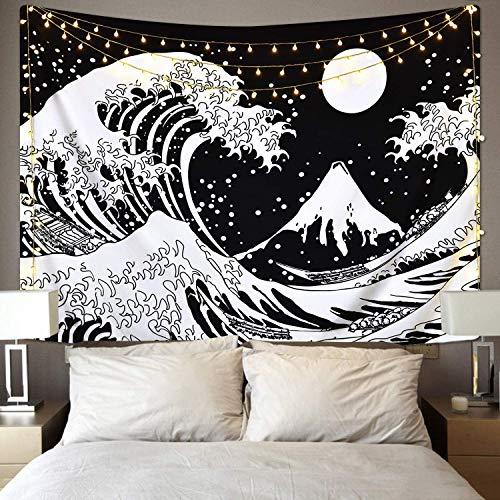 KHKJ Mandala Negro Ola Luna Tapiz Colgante de Pared Sol Luna Tarot tapices de Pared montaña cráneo Flor Tapiz A1 150x130cm