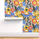 Spoonflower Peel and Stick Removable Wallpaper, Flowers Gold Blue Orange Black Red Florals Print, Self-Adhesive Wallpaper 24in x 108in Roll
